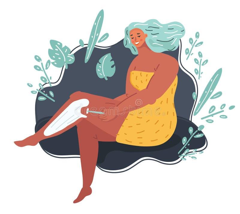 Piękna młoda kobieta goli ona nogi z żyletką royalty ilustracja