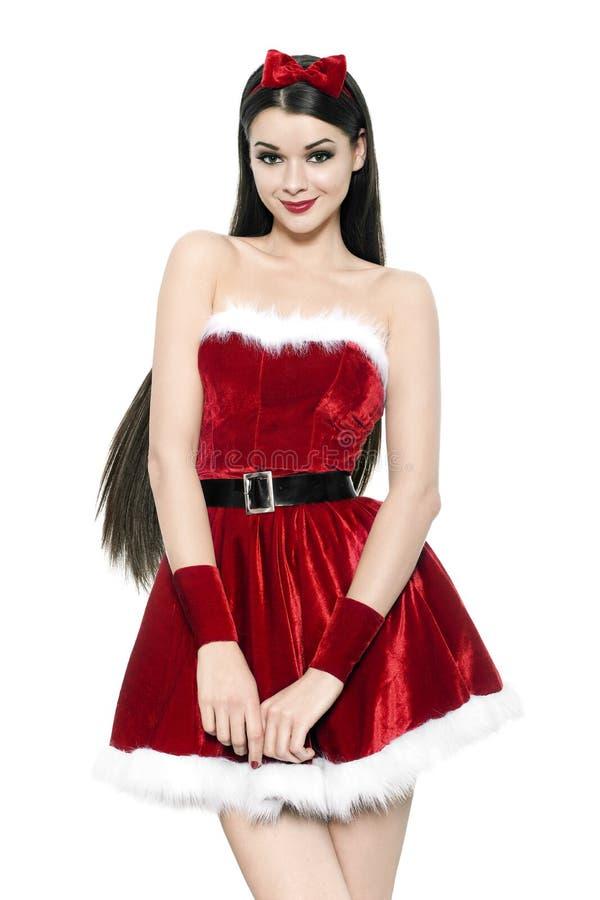 Piękna młoda kobieta jako śliczna Santa dziewczyna obraz stock