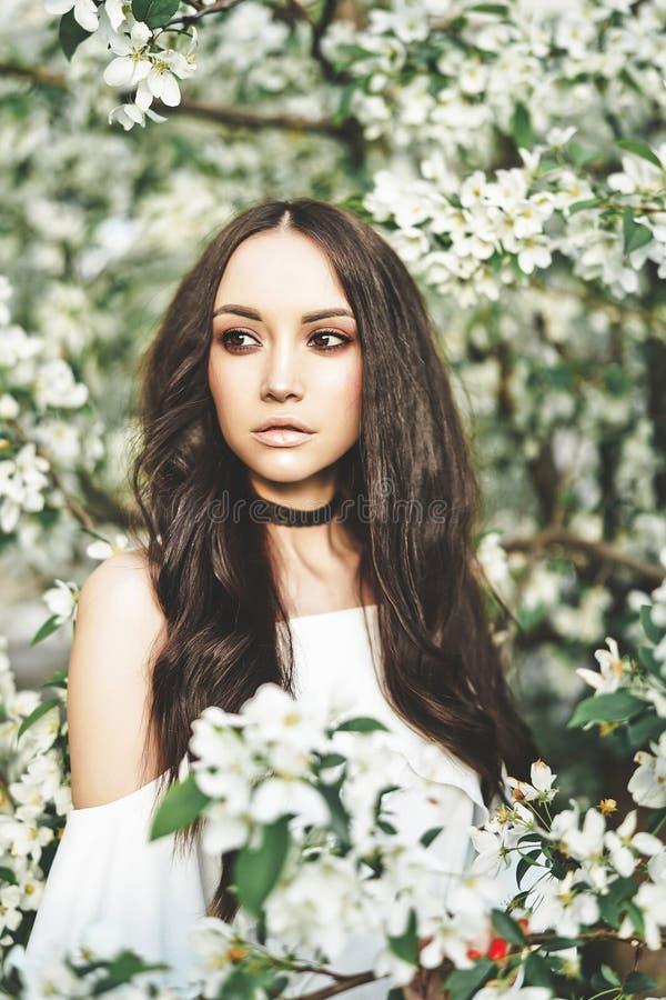 Piękna młoda kobieta otaczająca kwiatami jabłoń obrazy stock