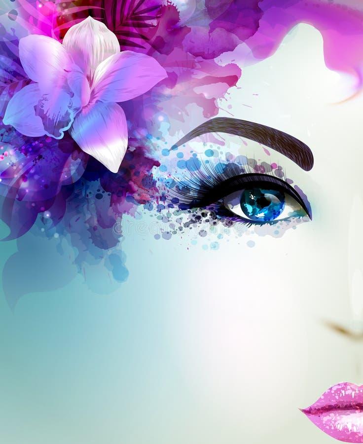 Piękna młoda kobieta patrzeje prosto Lekka kwitnąca orchidea dekorujący abstrakcjonistyczny włosy ilustracja wektor