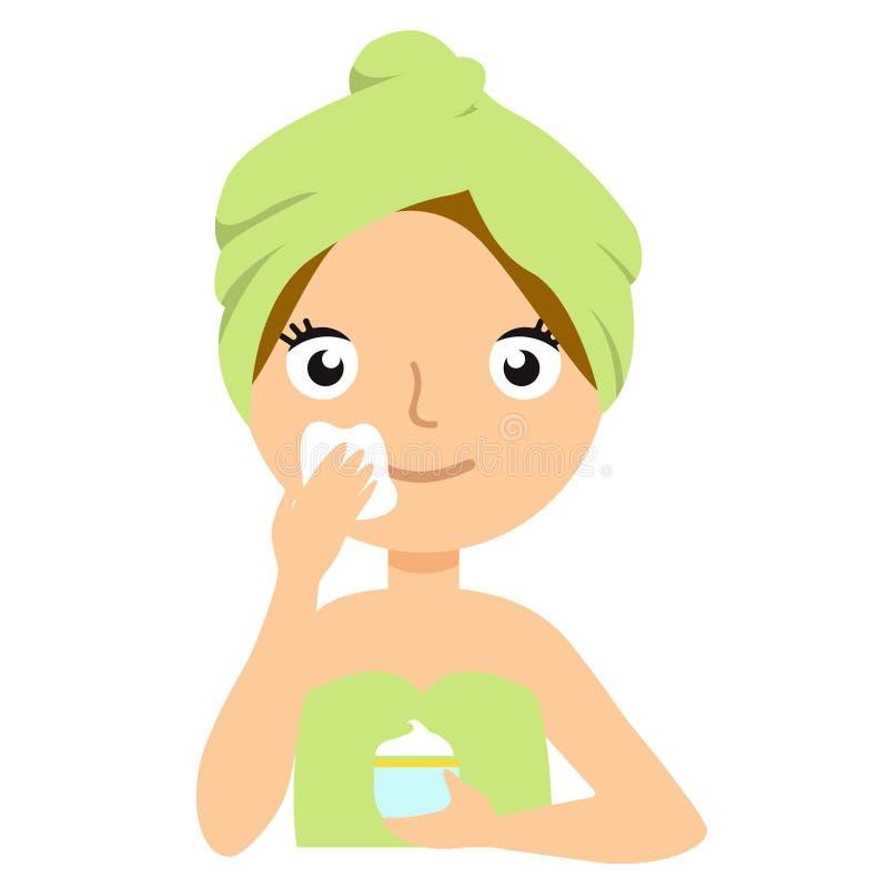 Piękna młoda kobieta stosuje twarzową maskę Zdroju i skóry opieki pojęcie ilustracja wektor