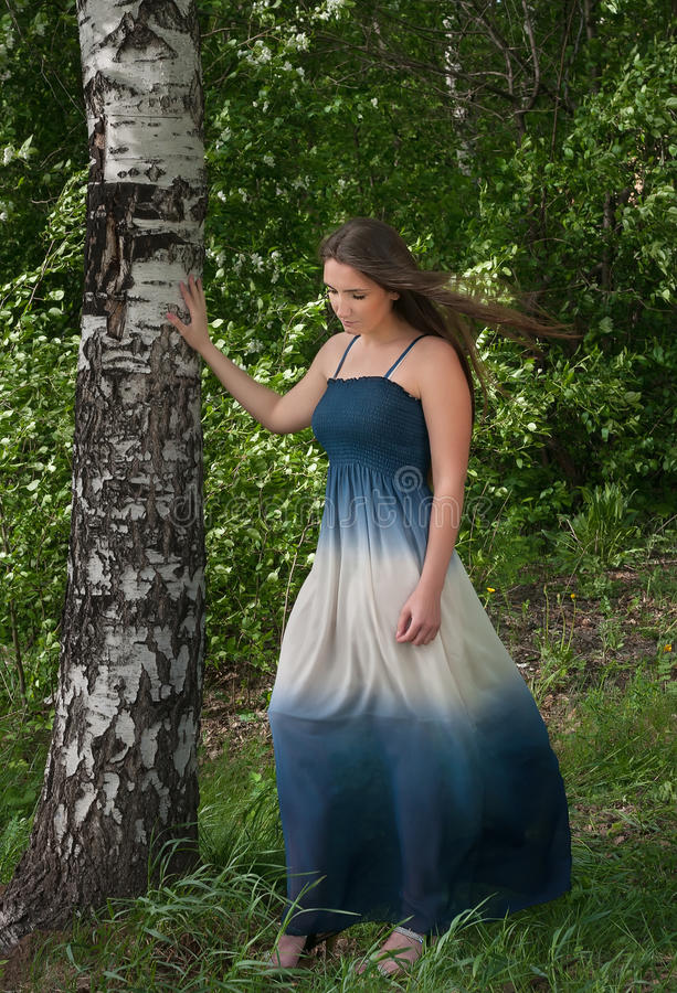 Piękna młoda kobieta w błękitnej sukni przy brzozą fotografia stock