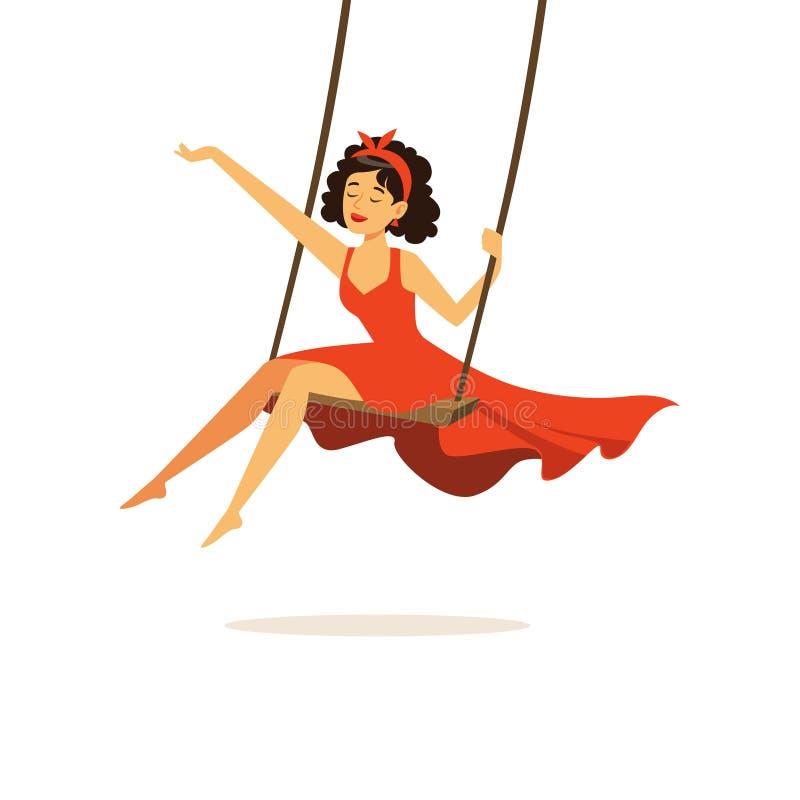 Piękna młoda kobieta w czerwieni sukni chlaniu, dziewczyna ubierał w retro stylowej wektorowej ilustraci ilustracja wektor