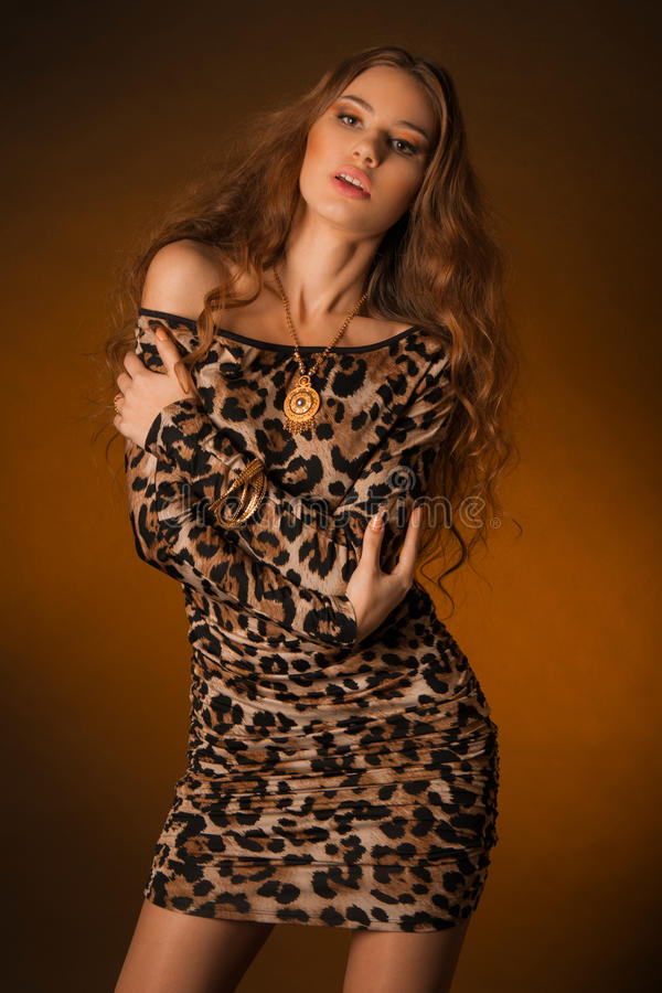 Piękna młoda kobieta w lampart sukni obraz royalty free
