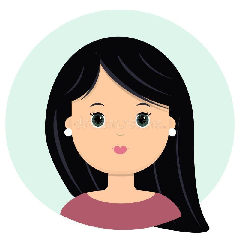 Piękna młoda kobieta z czarny długie włosy Portret nowożytna moda, fryzura salon, wektorowa ikona, odizolowywająca na bielu ilustracja wektor