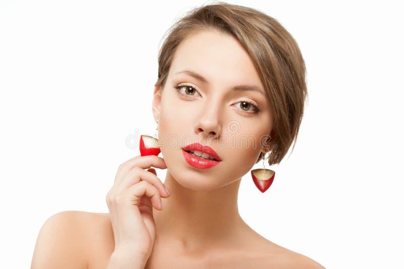 Piękna młoda kobieta z czerwonymi wargami zdjęcia stock