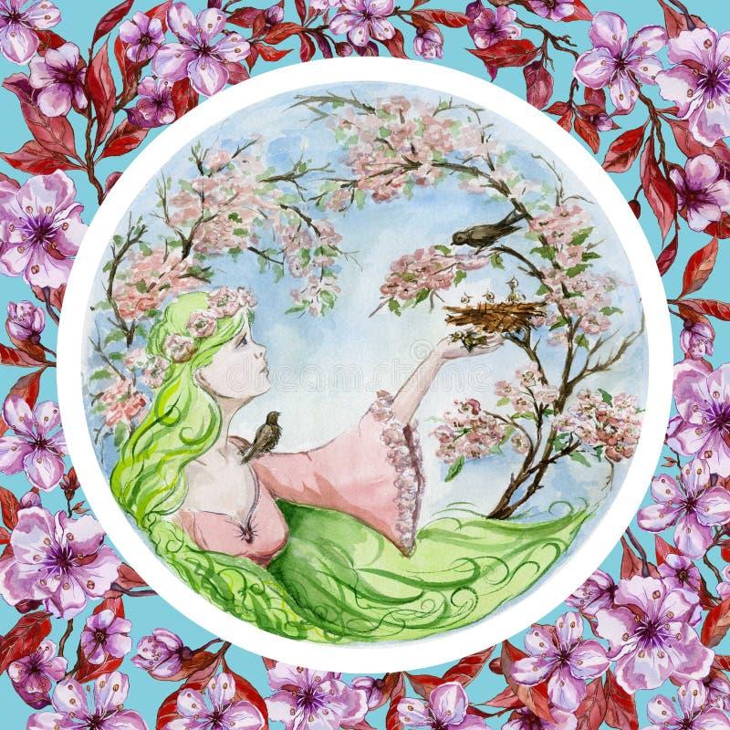 Piękna młoda kobieta z długiej zieleni włosy ratuje dziecko ptaka który spadał od gniazdeczka przeciw wiosen drzewom w okwitnięci royalty ilustracja