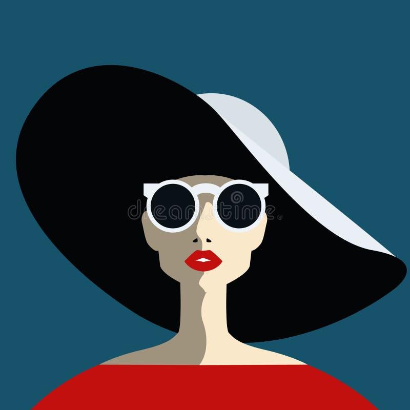 Piękna młoda kobieta z okularami przeciwsłonecznymi i kapeluszem, retro styl ilustracji
