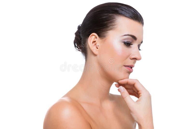 Piękna młoda kobieta z perfect skóry i miękkiej części makeup fotografia royalty free