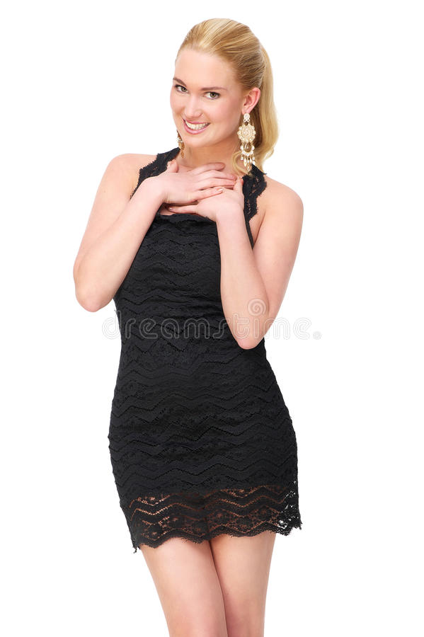 Piękna Młoda kobieta z rękami jej serce obraz stock