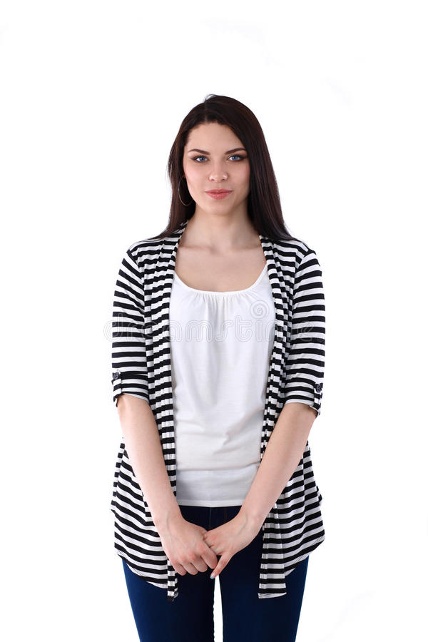 Piękna młodej kobiety pozycja odizolowywająca przeciw białemu tłu zdjęcie stock