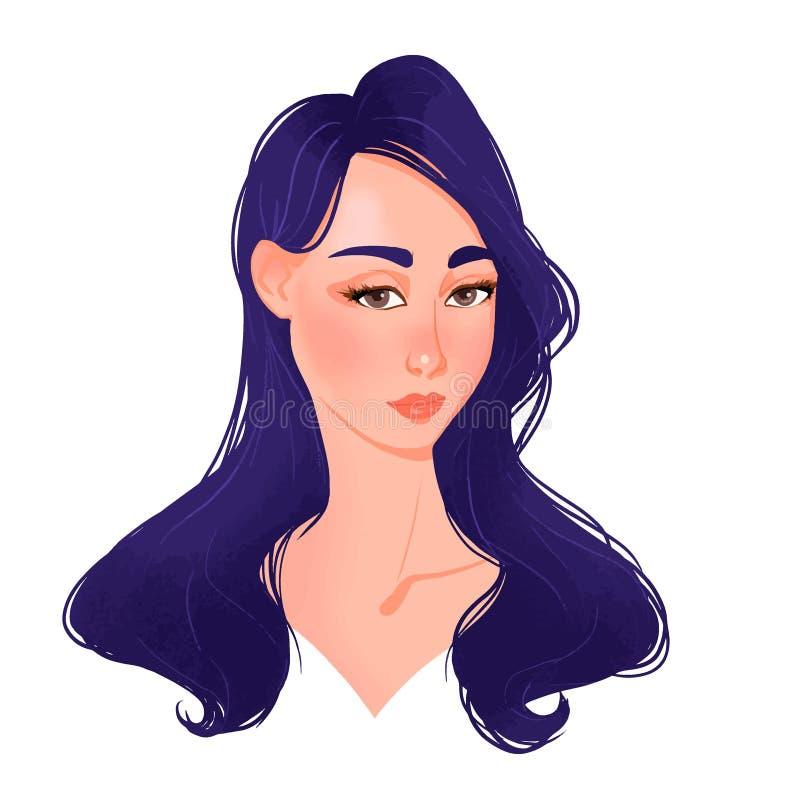Piękna młodej kobiety twarz z błękitnym włosy ilustracja wektor