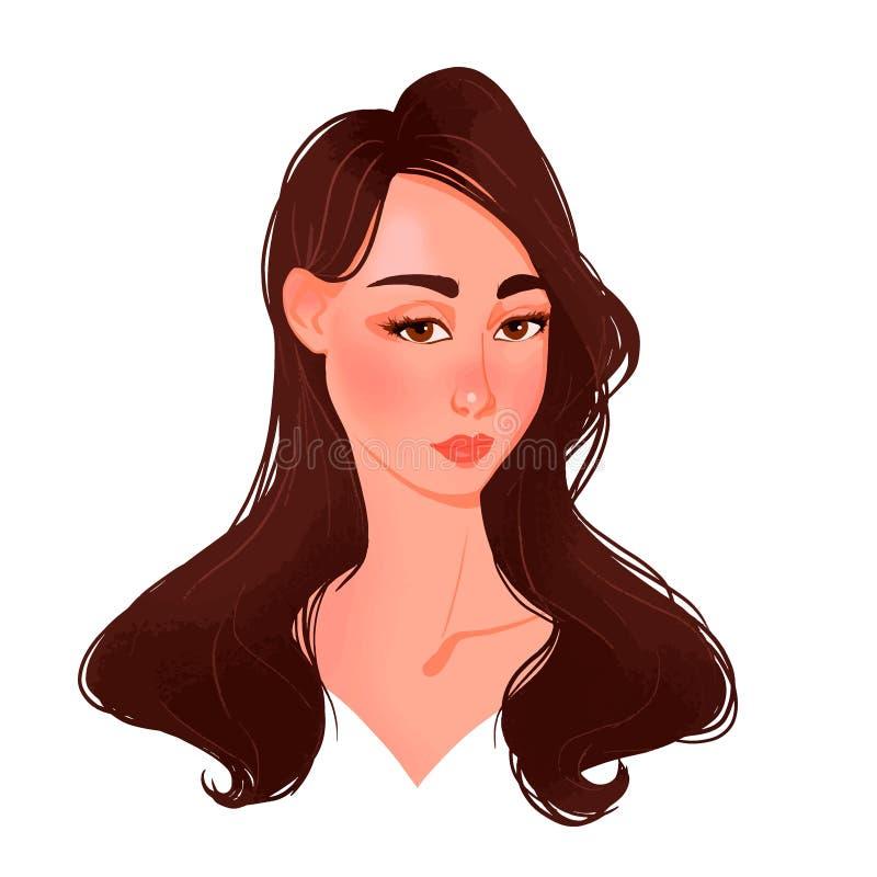 Piękna młodej kobiety twarz z brązu włosy royalty ilustracja