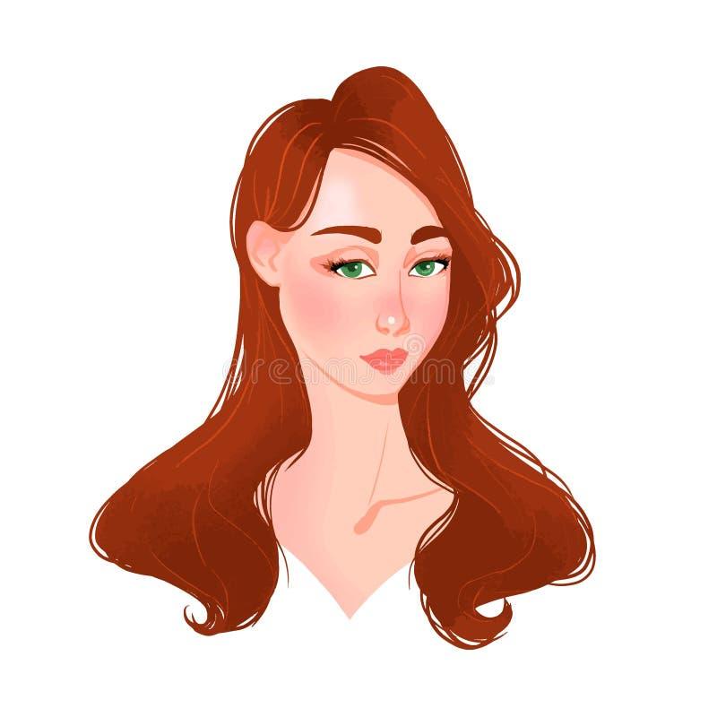 Piękna młodej kobiety twarz z czerwonym włosy ilustracji