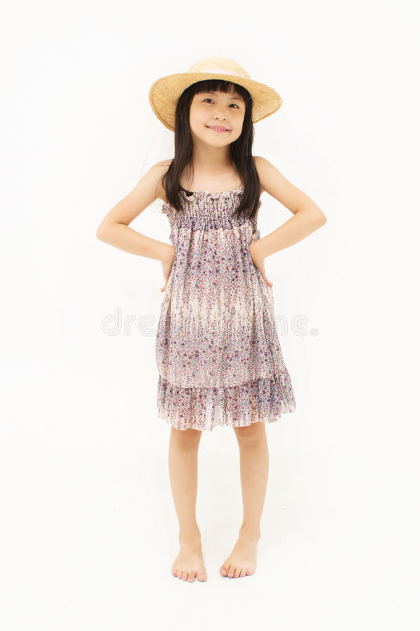 Szczęśliwa mała azjatykcia dziewczyna zdjęcie royalty free