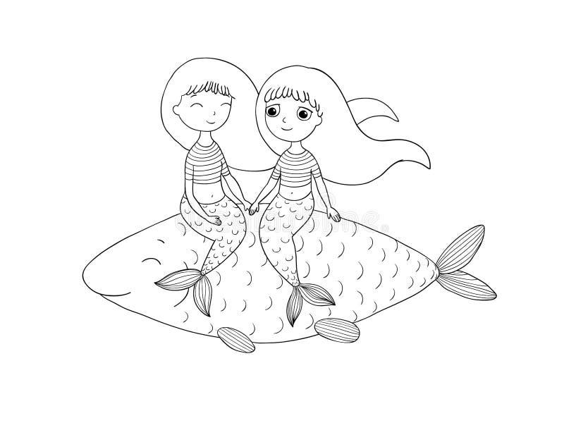 Piękna mała syrenka i ryba syrena ilustracja wektor