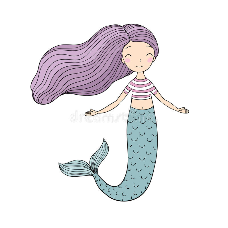 piękna mała syrenka syrena abstrakcjonistyczny abstrakci tła morza temat ilustracji
