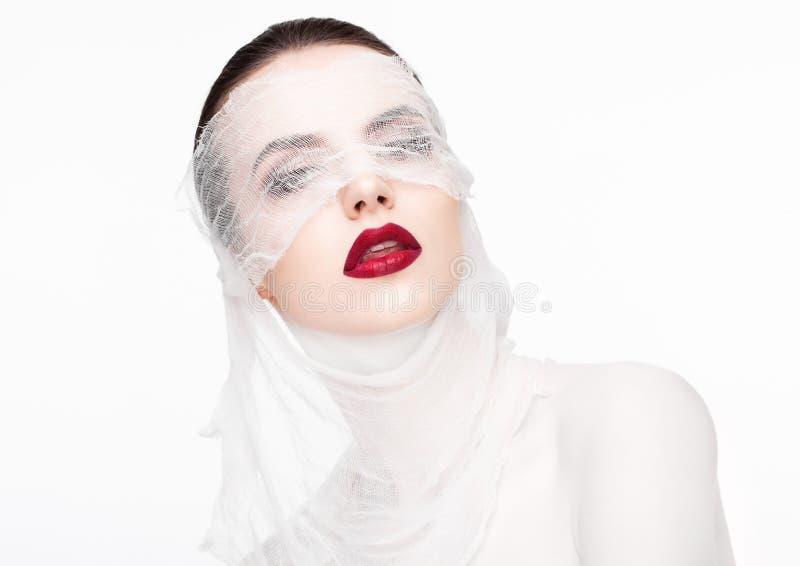 Piękna makeup chirurgii plastycznej bandaża biały model zdjęcia stock
