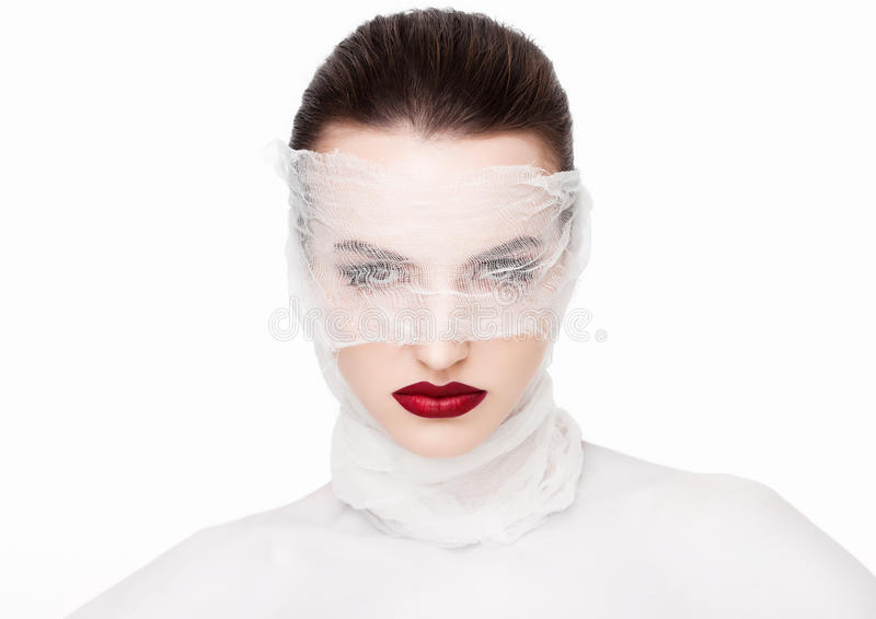 Piękna makeup chirurgii plastycznej bandaża biały model obrazy stock