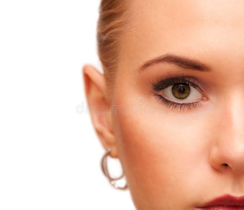 Piękna Makeup Część twarzy zbliżenie idealna skóra Uzupełniał pojęcie obraz stock
