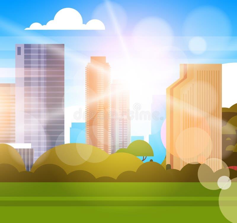 Piękna miasto linia horyzontu Z światłem słonecznym Nad drapaczy chmur budynków pejzażu miejskiego pojęciem ilustracja wektor