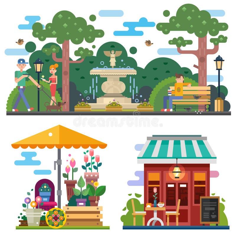 Piękna miasto przestrzeń w lato czasie ilustracja wektor