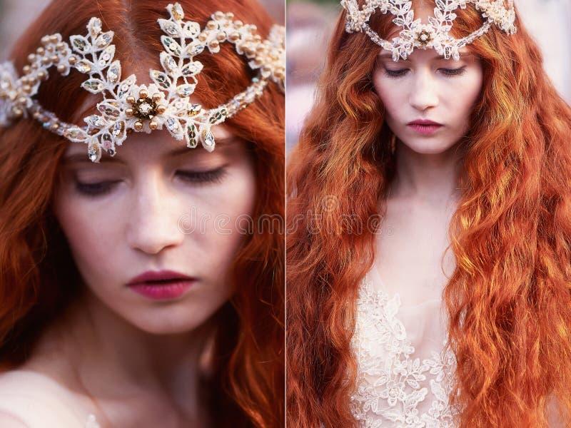 Piękna miedzianowłosa dziewczyna z długim kędzierzawym włosy w pannie młodej w długiej koronki sukni, Naturalny piękno zdjęcia stock