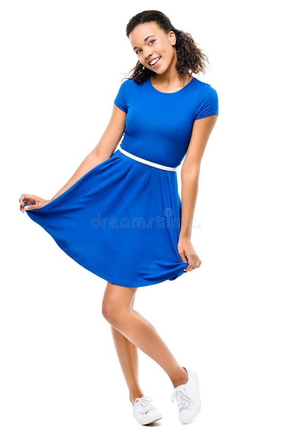 Piękna mieszana biegowa kobieta tanczy seksowną błękit suknię odizolowywającą na w zdjęcia royalty free