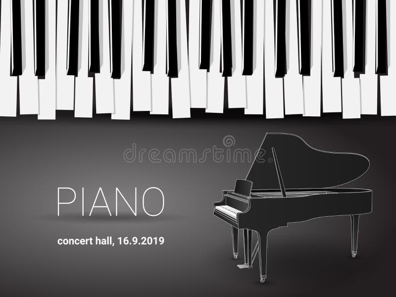 Piękna monochromatyczna pianino koncerta zaproszenia karta z prostą stylizowaną fortepianową klawiaturą i 3d uroczystego pianina  ilustracja wektor