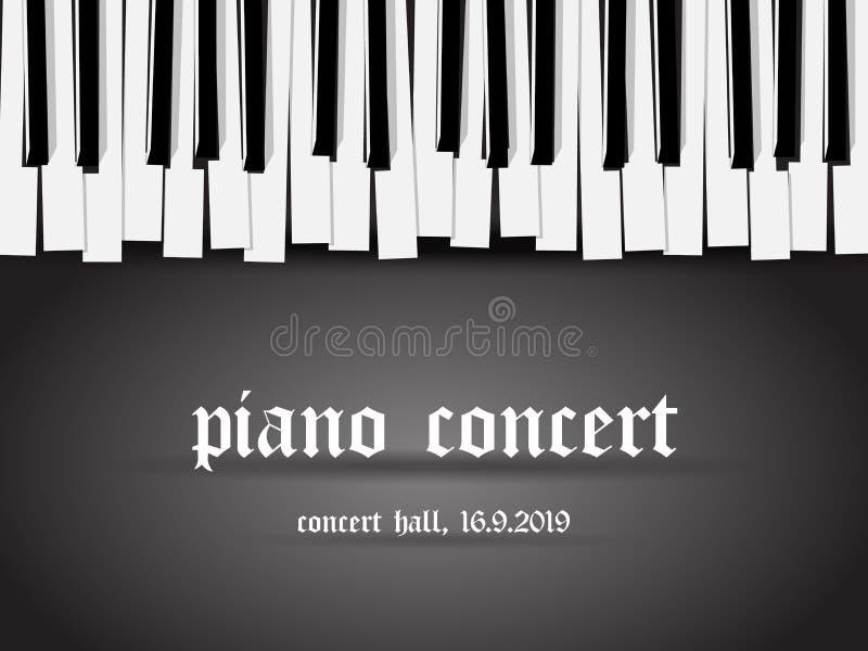 Piękna monochromatyczna pianino koncerta zaproszenia karta z prostą stylizowaną fortepianową klawiaturą na czarnym tle royalty ilustracja