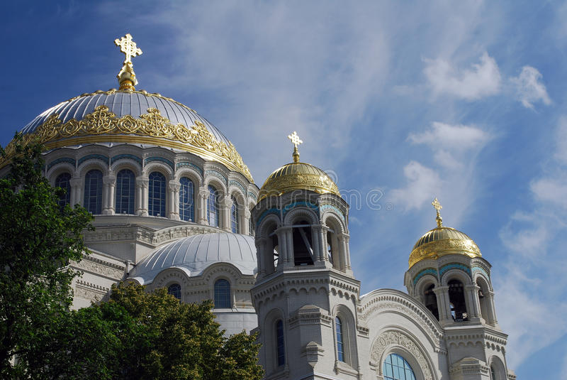 Piękna Morska katedra święty Nicholas w Kronstadt, święty Petersburg, Rosja obrazy royalty free