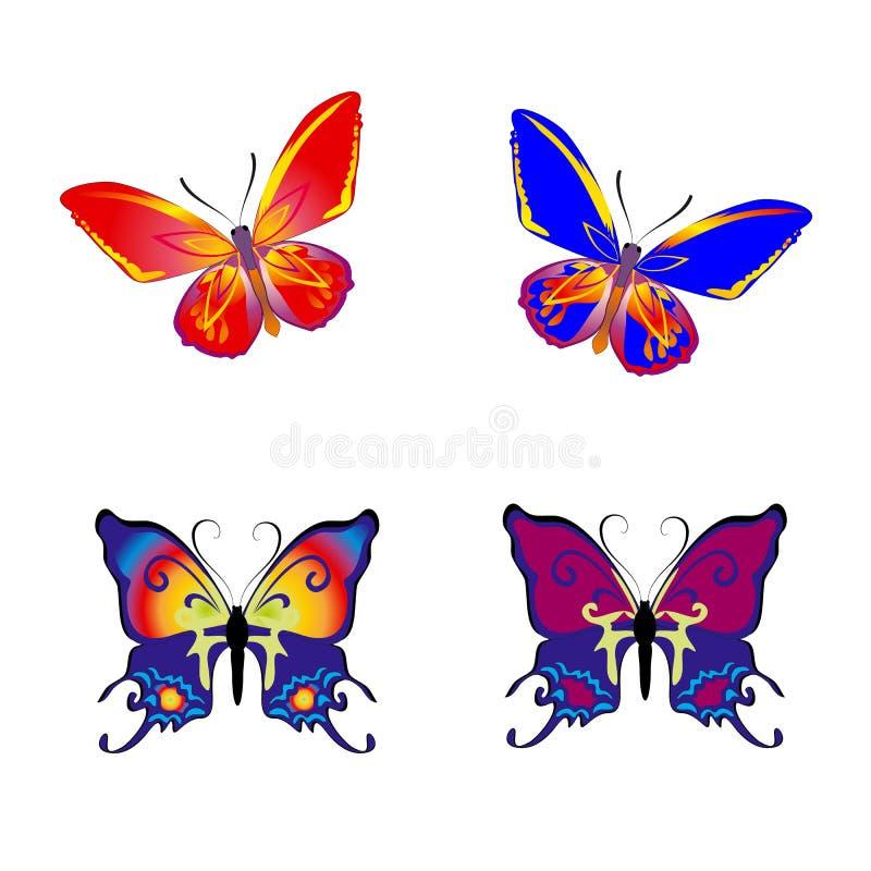 Piękna Motylia kolekcja na białym tle, royalty ilustracja
