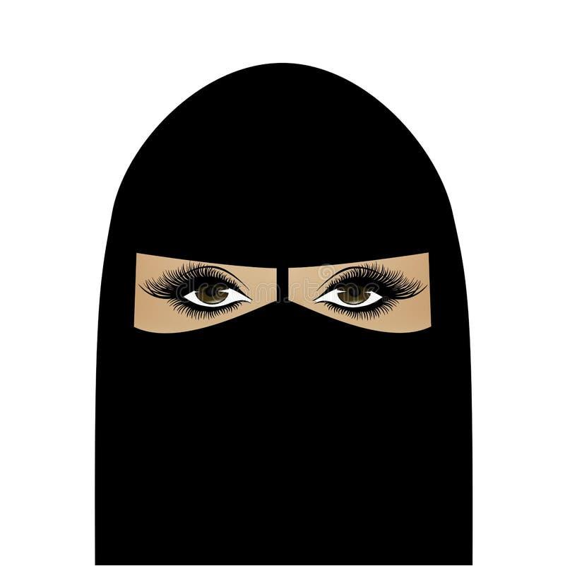 Piękna Muzułmańska kobieta w hijab, kwadratowy portret, wektorowa ilustracja odizolowywająca na bielu ilustracji