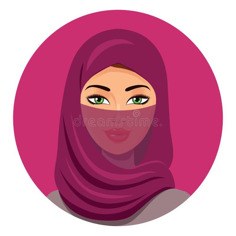 Piękna Muzułmańska kobieta w hijab zamykał twarzy przesłonę odosobniony wektor Arabska kobieta w tradycyjnym odziewa wektorowa il royalty ilustracja