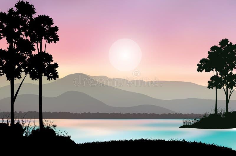 Piękna natura przy zmierzchem, Wektorowe ilustracje ilustracja wektor