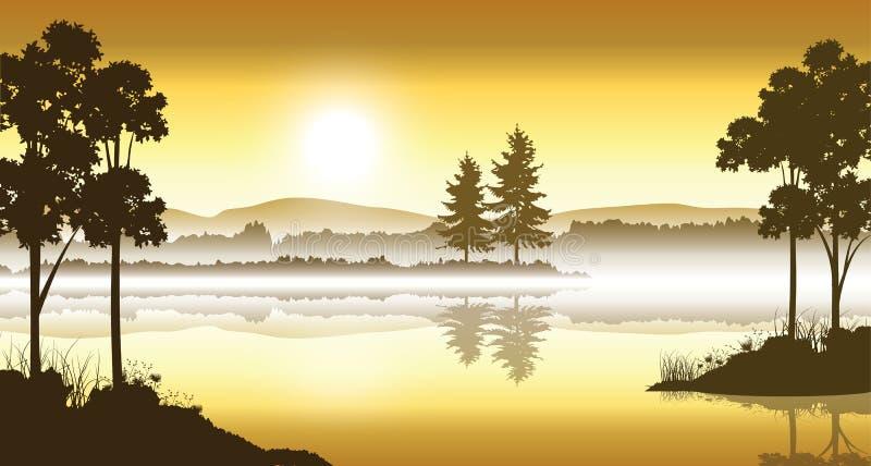 Piękna natura, Wektorowy ilustracja krajobraz ilustracji