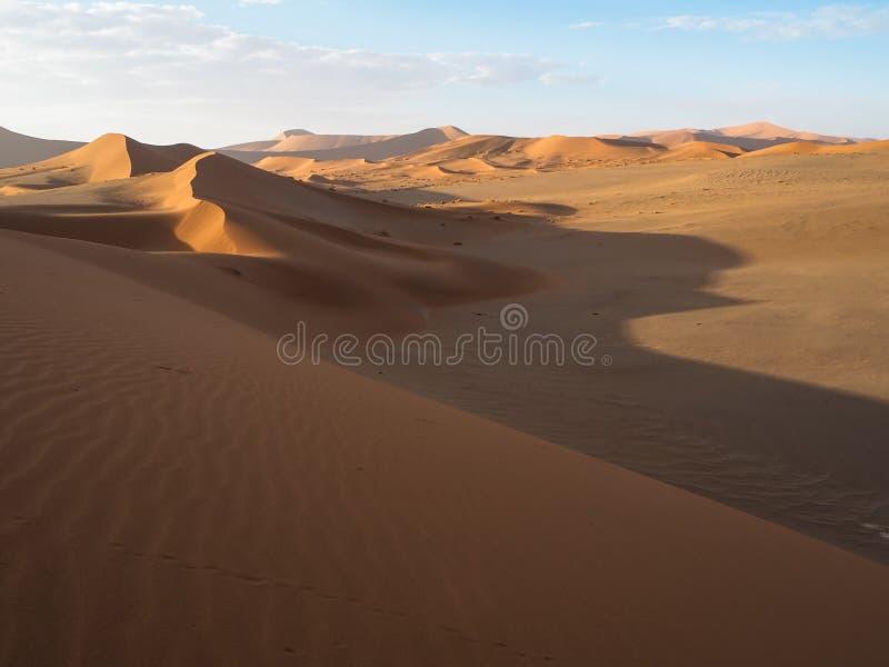 Piękna naturalna wyginająca się grani linia i wiatrowy ciosu wzór na szerokim pustynia krajobrazie ośniedziała czerwona piasek di fotografia stock