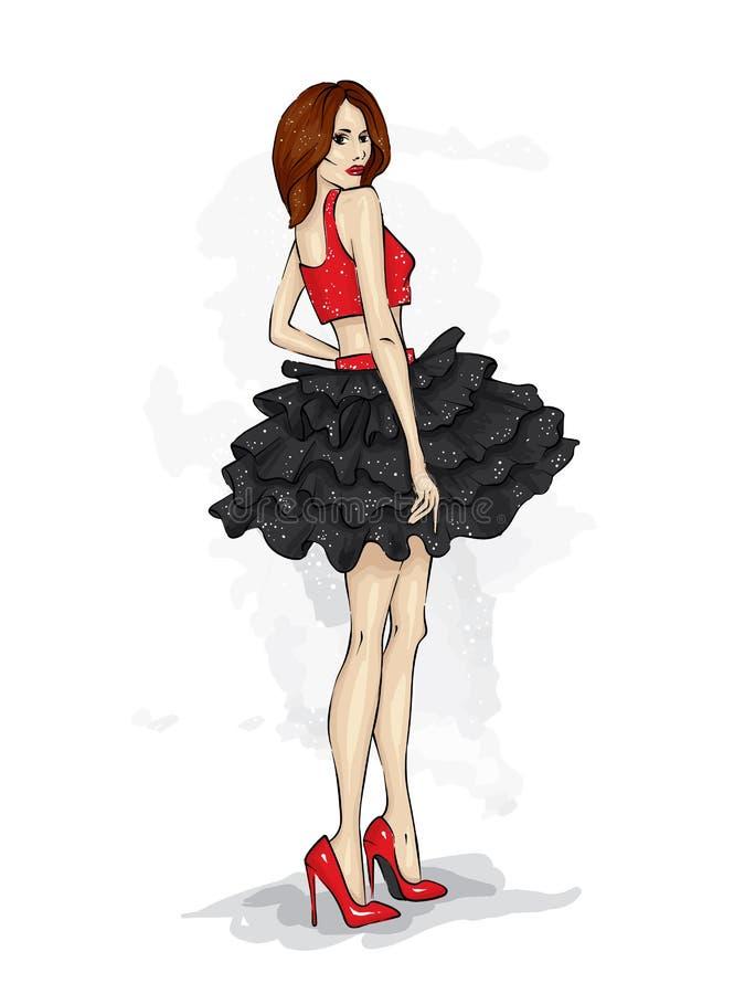 Piękna nikła dziewczyna z długimi nogami w modnych ubraniach Model w spódnicie, wierzchołku i heeled butach, ilustracja wektor