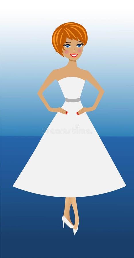 Piękna nikła kobieta w biel sukni na błękitnym tle ilustracji