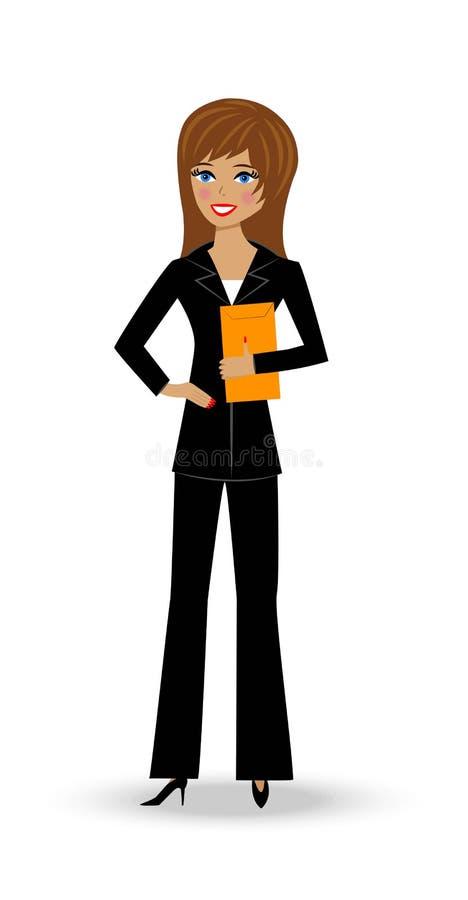 Piękna nikła kobieta w garniturze ilustracja wektor