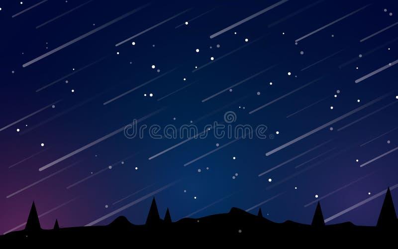 Piękna nocy mknących gwiazd krajobrazowa wektorowa ilustracja ilustracja wektor