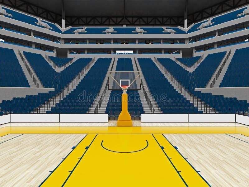 Piękna nowożytna sport arena dla koszykówki z błękitnymi siedzeniami royalty ilustracja