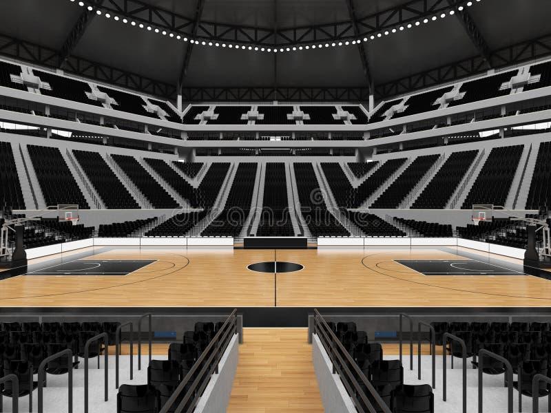 Piękna nowożytna sport arena dla koszykówki z czarnymi siedzeniami ilustracji