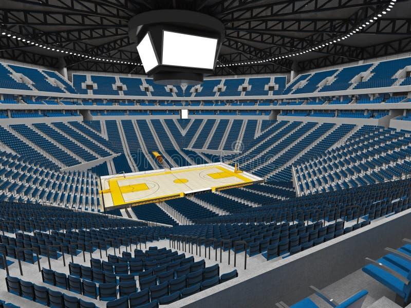 Piękna nowożytna sport arena dla koszykówki z floodlights błękitnymi royalty ilustracja