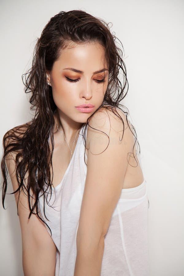 piękna odosobniony portreta biel zdjęcie stock