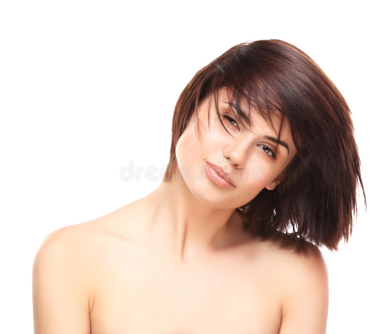 piękna odosobniony portreta biel Piękny zdrój kobiety ono Uśmiecha się zdjęcie stock