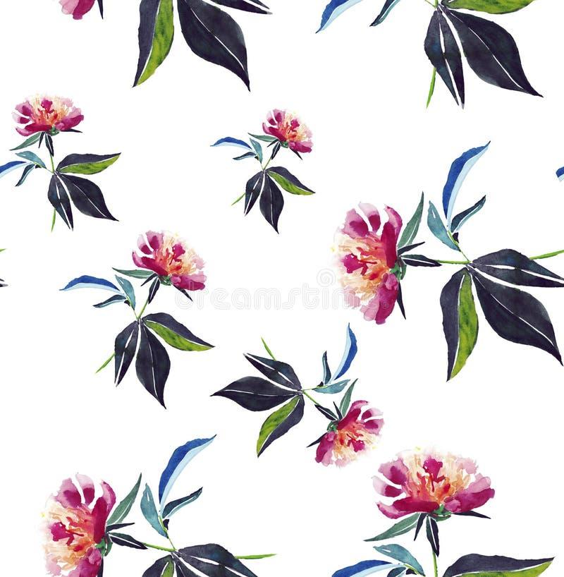 Piękna oferta fałszował wiosna skład beżowych proszkowatych różowych peoni bezszwowy wzór royalty ilustracja