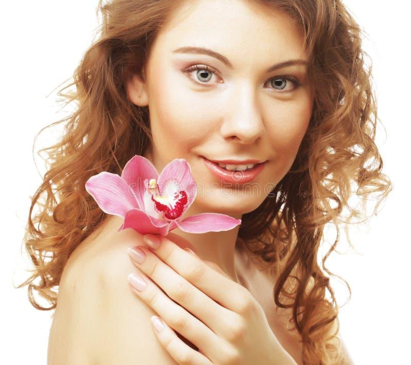 piękna orchidei menchii kobieta zdjęcia royalty free