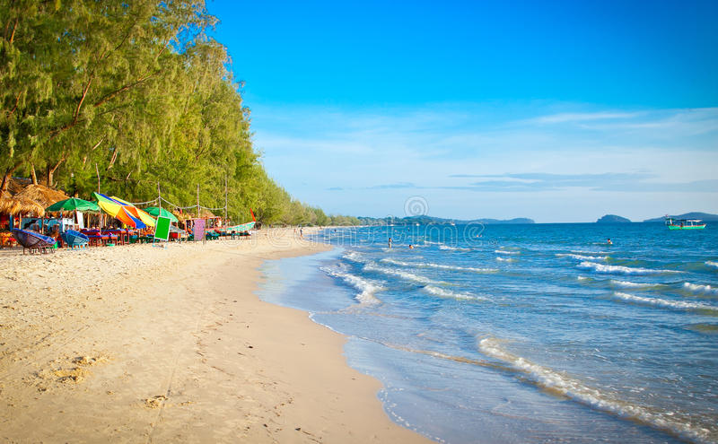 Piękna Otres plaża w Sihanoukville, Kambodża zdjęcie royalty free