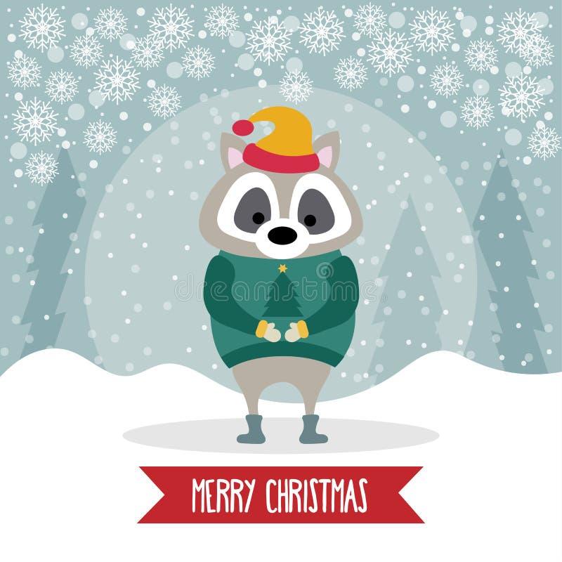 Piękna płaska projekt kartka bożonarodzeniowa z ubierającym szop pracz ilustracji
